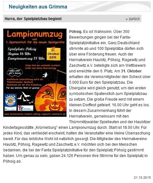 Stadt Grimma vom 21.10.2015